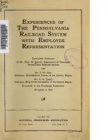 Experiences of the Pennsylvania Railroad System with Employee Representation