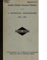 Illinois Central – A Centennial Bibliography 1851-1951